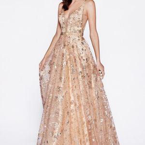 Rose-Gold Sleeveless Prom Long Dress